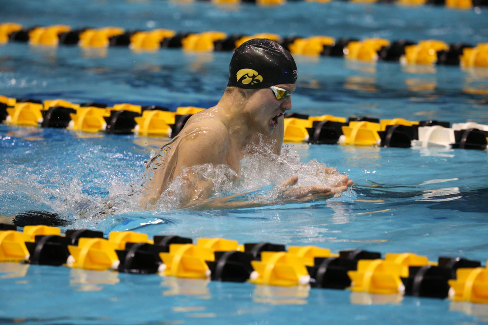 Iowa's Anze Fers Erzan at the 400-yard medley race  Friday, March 1, 2019 at the Campus Recreation and Wellness Center. (Lily Smith/hawkeyesports.com)