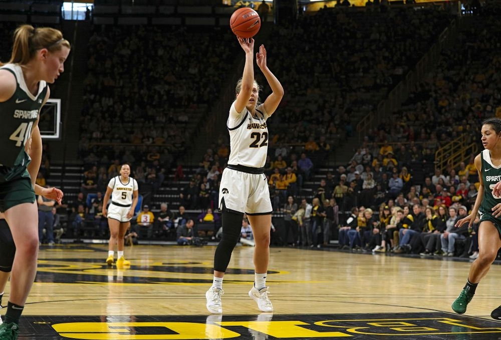 Iowa Hawkeyes guard Kathleen Doyle (22) makes a free throw during the second quarter of their game at Carver-Hawkeye Arena in Iowa City on Sunday, January 26, 2020. (Stephen Mally/hawkeyesports.com)