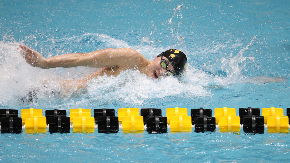 Iowa's Michael Tenney swims the third leg of the 800 freestyle relay at the 2019 Big Ten Swimming and Diving meet  Wednesday, February 27, 2019 at the Campus Wellness and Recreation Center. (Brian Ray/hawkeyesports.com)