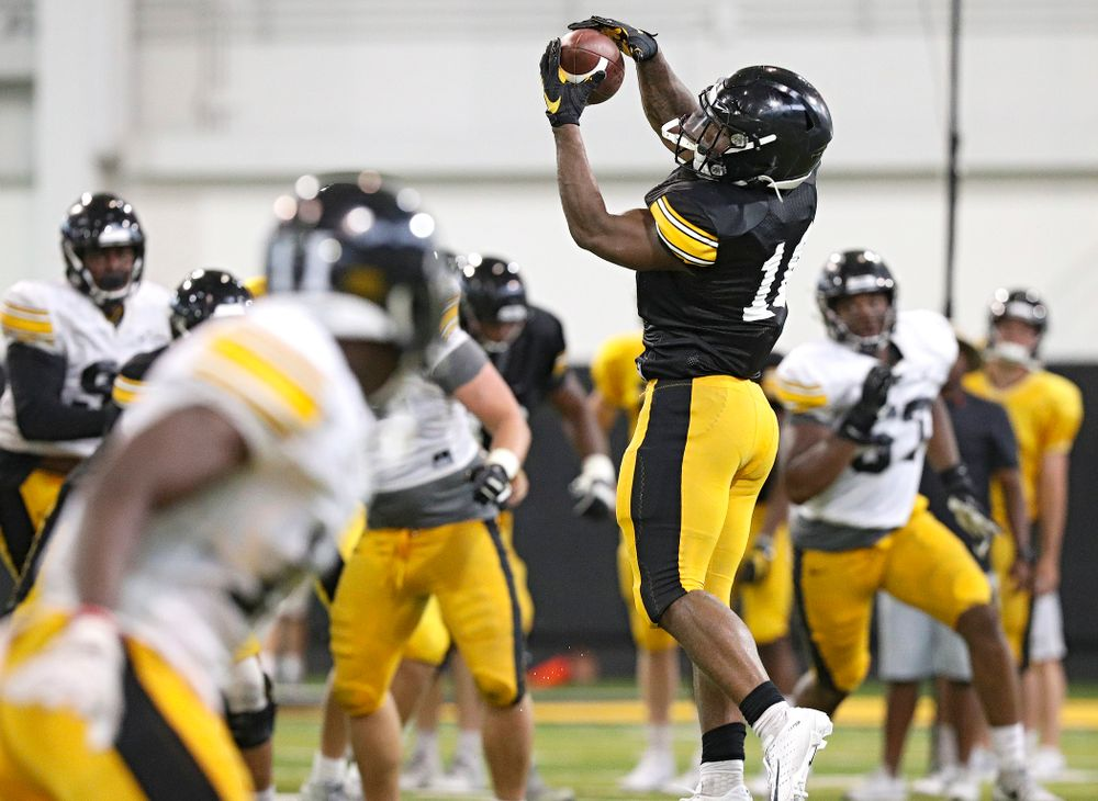 Iowa Hawkeyes running back Mekhi Sargent (10) pulls in a pass during Fall Camp Practice No. 6 at the Hansen Football Performance Center in Iowa City on Thursday, Aug 8, 2019. (Stephen Mally/hawkeyesports.com)