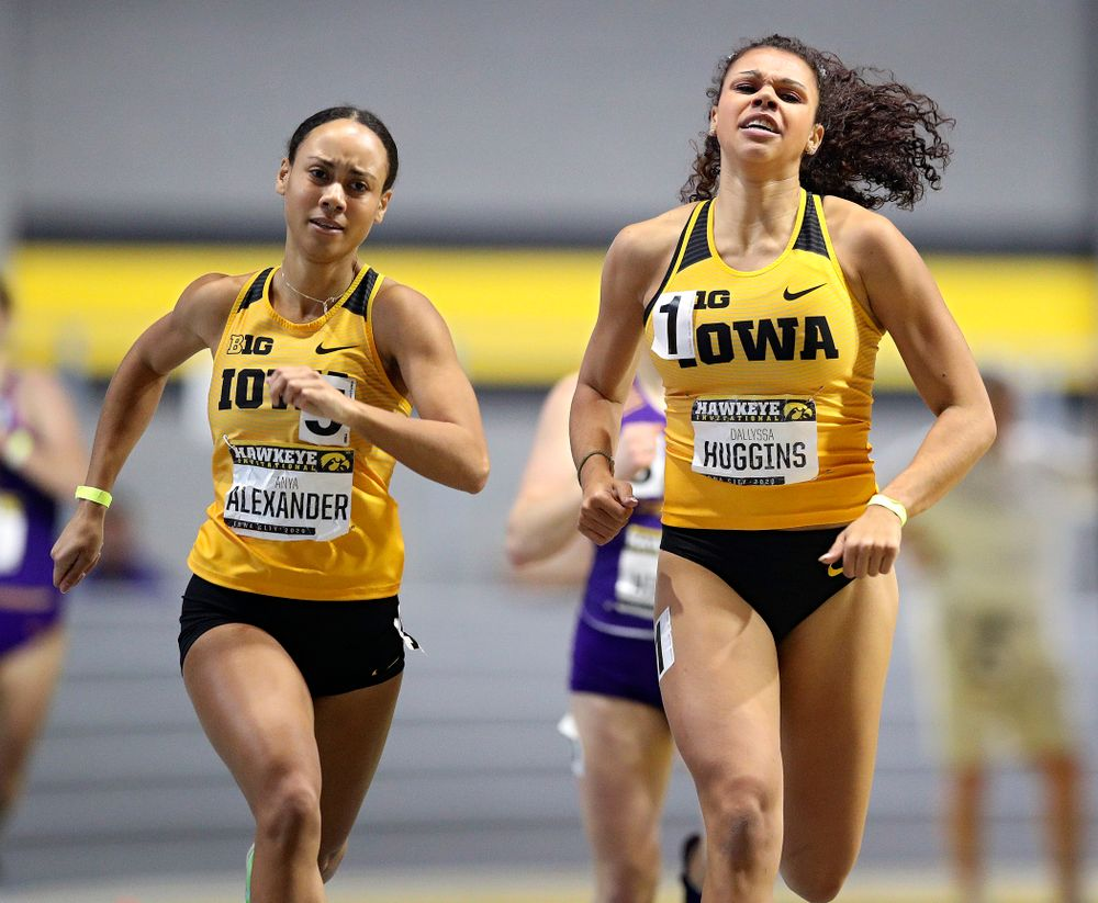 Iowa's Anaya Alexander (from left) and Dallyssa Huggins run the women's 600 meter run event during the Hawkeye Invitational at the Recreation Building in Iowa City on Saturday, January 11, 2020. (Stephen Mally/hawkeyesports.com)