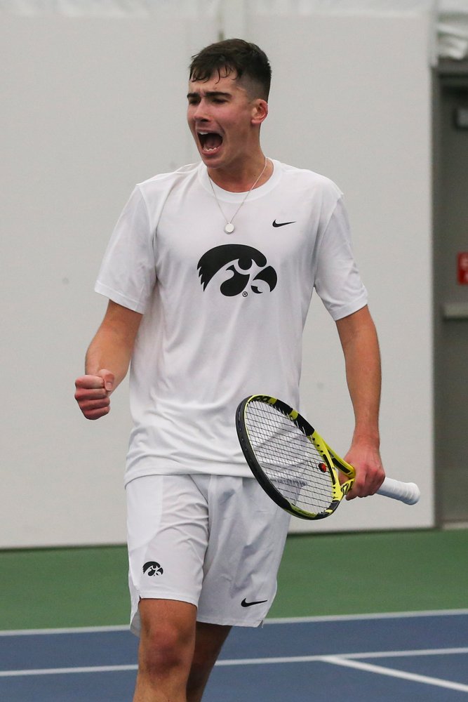 Iowa's Matt Clegg celebrates a point during the Iowa men's tennis match vs Western Michigan on Saturday, January 18, 2020 at the Hawkeye Tennis and Recreation Complex. (Lily Smith/hawkeyesports.com)
