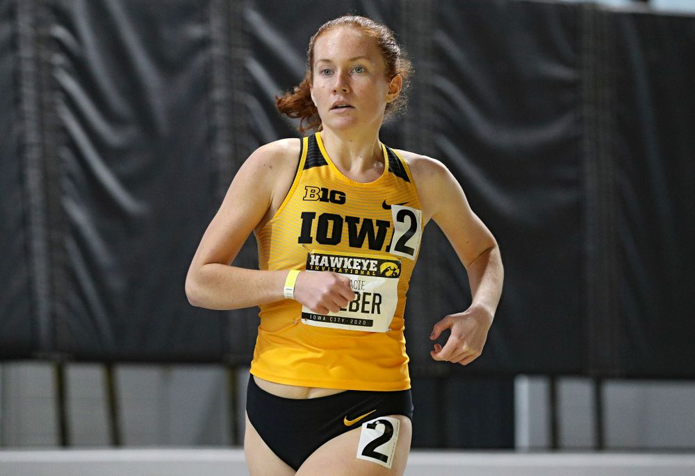 Iowa's Macie Weber runs the women's 1000 meter run event during the Hawkeye Invitational at the Recreation Building in Iowa City on Saturday, January 11, 2020. (Stephen Mally/hawkeyesports.com)