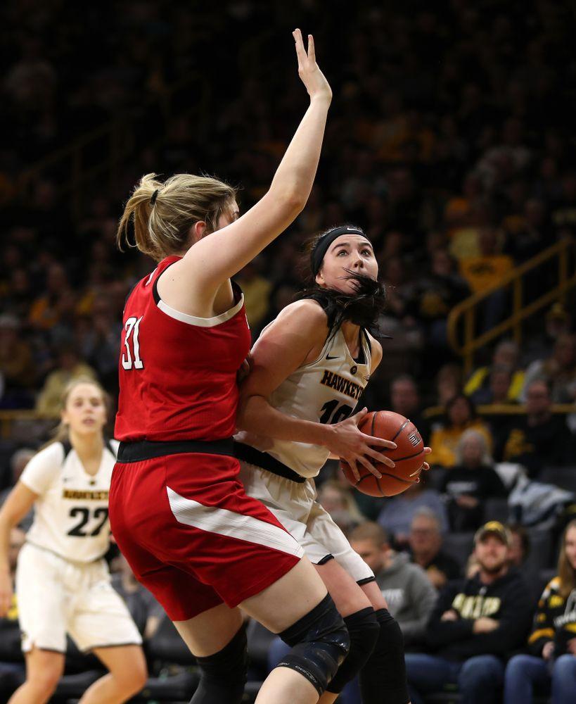Iowa Hawkeyes forward Megan Gustafson (10) against the Nebraska Cornhuskers Thursday, January 3, 2019 at Carver-Hawkeye Arena. (Brian Ray/hawkeyesports.com)