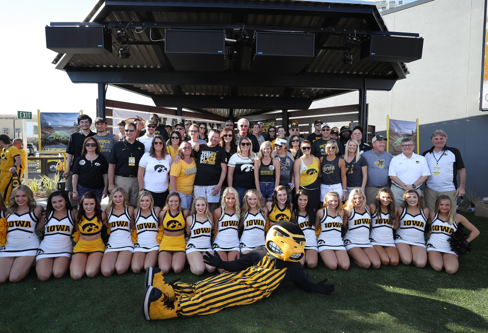The Iowa Spirit Squad with the families of the Hawkeye Football players during the Hawkeye Huddle Monday, December 31, 2018 at Sparkman Wharf in Tampa, FL. (Brian Ray/hawkeyesports.com)