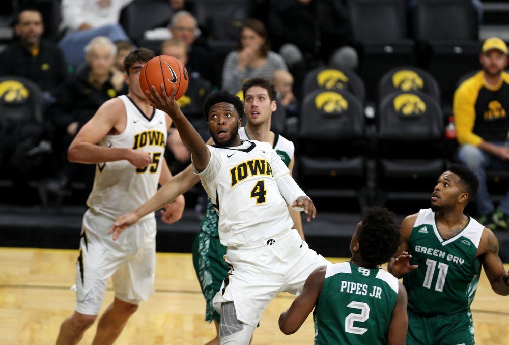 Iowa Hawkeyes guard Isaiah Moss (4) against UW Green Bay Sunday, November 11, 2018 at Carver-Hawkeye Arena. (Brian Ray/hawkeyesports.com)