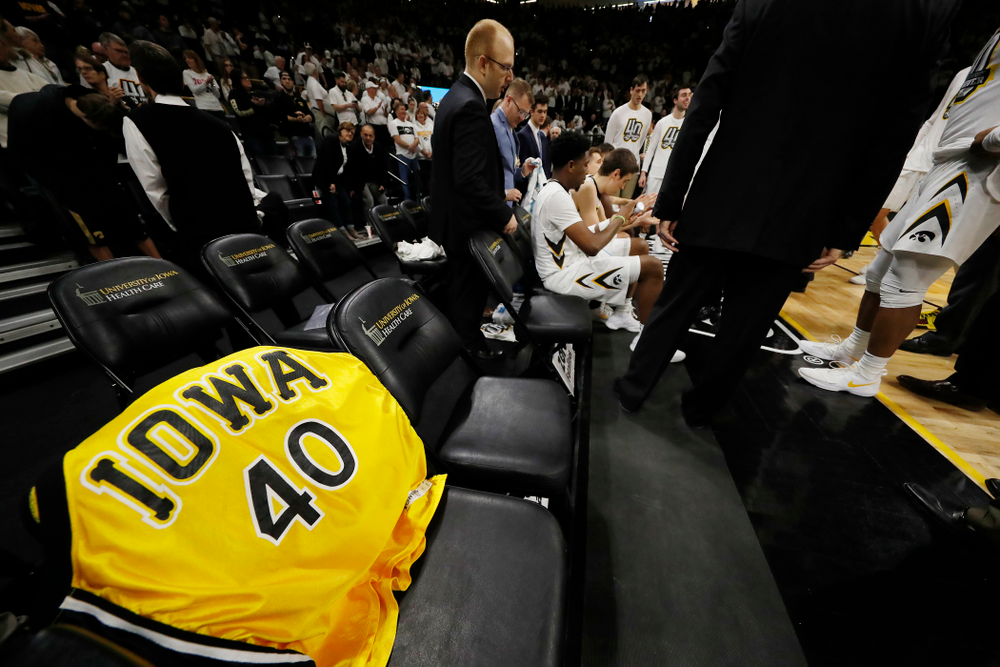 Chris Street's jersey on the Iowa bench