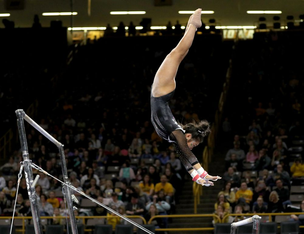 Iowa's Clair Kaji competes on the bars against Michigan State Saturday, February 1, 2020 at Carver-Hawkeye Arena. (Brian Ray/hawkeyesports.com)