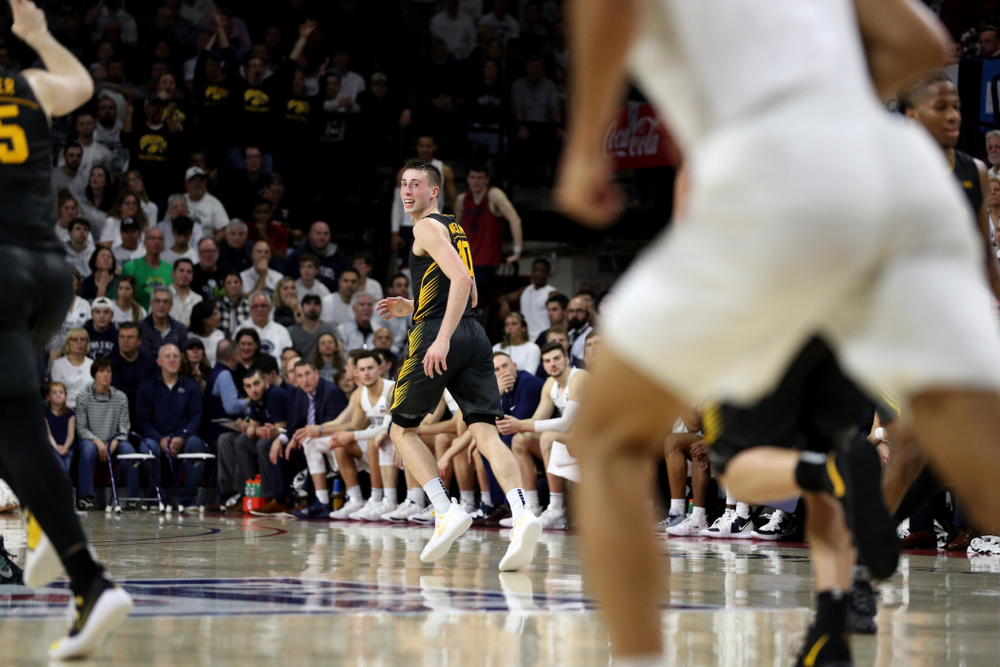 Iowa Hawkeyes guard Joe Wieskamp (10) celebrates a three point basket against Penn State Saturday, January 4, 2020 at the Palestra in Philadelphia. (Brian Ray/hawkeyesports.com)