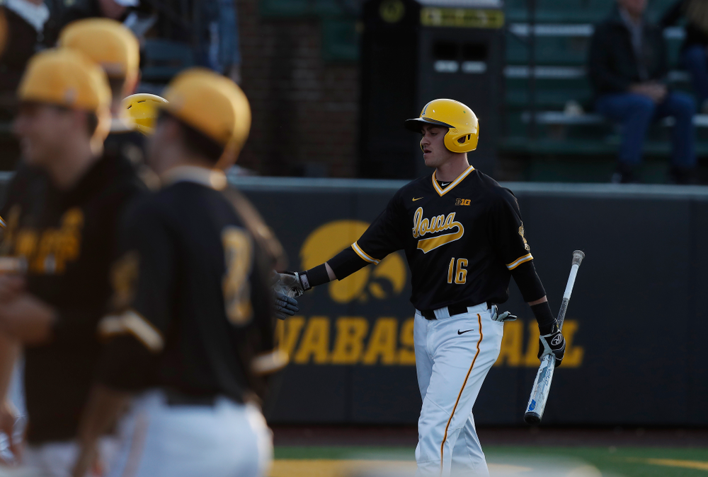 Iowa Hawkeyes infielder Tanner Wetrich (16) against Milwaukee Wednesday, April 25, 2018 at Duane Banks Field. (Brian Ray/hawkeyesports.com)