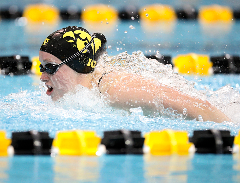 Iowa's Kelsey Drake swims the butterfly section in the women's 400 yard medley relay event during their meet at the Campus Recreation and Wellness Center in Iowa City on Friday, February 7, 2020. (Stephen Mally/hawkeyesports.com)