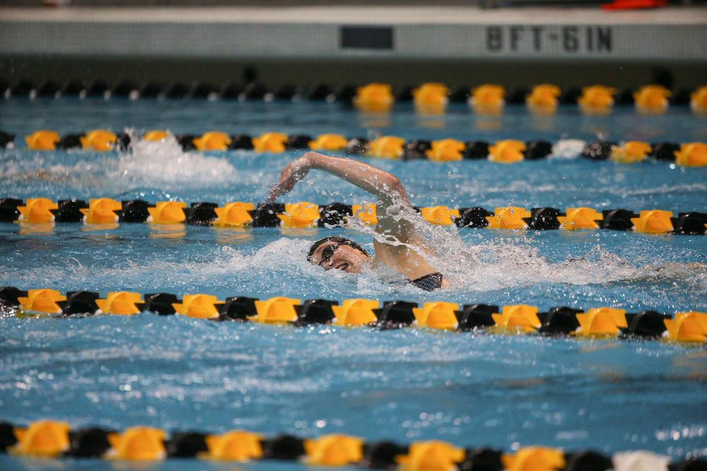 Iowa's Grace Reeder swims the 200-yard individual medley during the Iowa swimming and diving meet vs Notre Dame and Illinois on Saturday, January 11, 2020 at the Campus Recreation and Wellness Center. (Lily Smith/hawkeyesports.com)