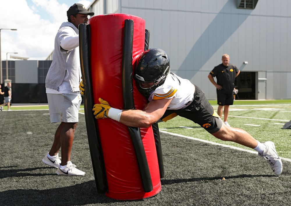 Iowa Hawkeyes linebacker Kristian Welch (34) hits a bag as they run a drill during Fall Camp Practice No. 13 at the Hansen Football Performance Center in Iowa City on Friday, Aug 16, 2019. (Stephen Mally/hawkeyesports.com)