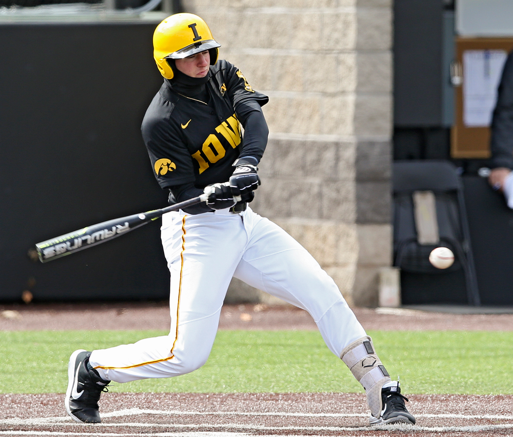Iowa Hawkeyes third baseman Brendan Sher (2) bats during the second inning of their game against Illinois at Duane Banks Field in Iowa City on Saturday, Mar. 30, 2019. (Stephen Mally/hawkeyesports.com)