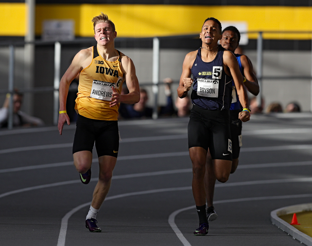 Iowa's Josh Andrews (from left) and Armando Bryson run the men's 600 meter run event at the Black and Gold Invite at the Recreation Building in Iowa City on Saturday, February 1, 2020. (Stephen Mally/hawkeyesports.com)