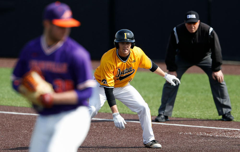 Iowa Hawkeyes outfielder Robert Neustrom (44) takes his lead from first base during a game against Evansville at Duane Banks Field on March 18, 2018. (Tork Mason/hawkeyesports.com)