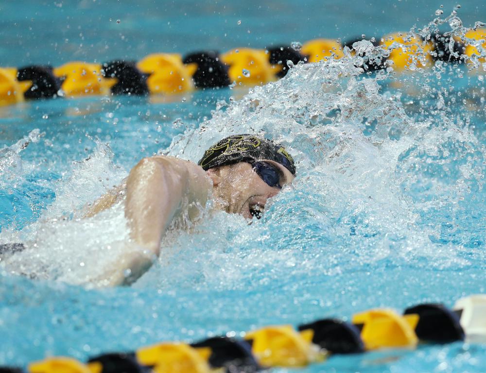 Iowa's Weston Credit swims the 200 yard Individual Medley Thursday, November 15, 2018 during the 2018 Hawkeye Invitational at the Campus Recreation and Wellness Center. (Brian Ray/hawkeyesports.com)