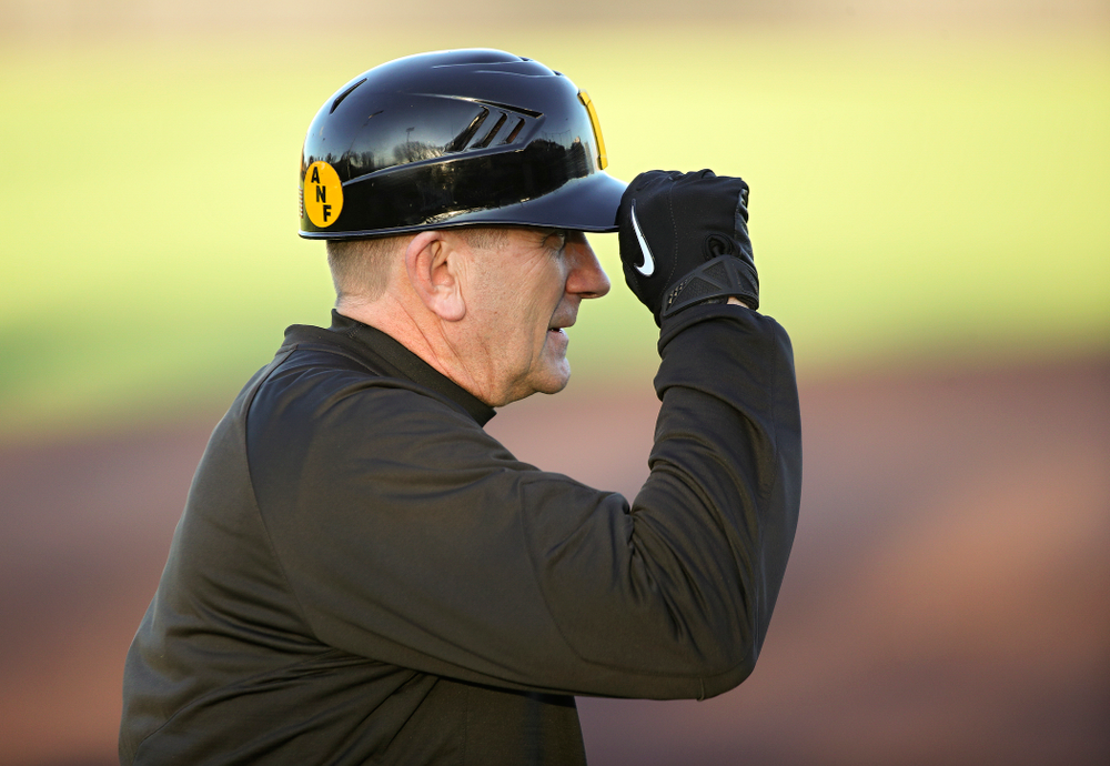 Iowa Hawkeyes head coach Rick Heller looks on during the fourth inning of their game at Duane Banks Field in Iowa City on Tuesday, March 3, 2020. (Stephen Mally/hawkeyesports.com)