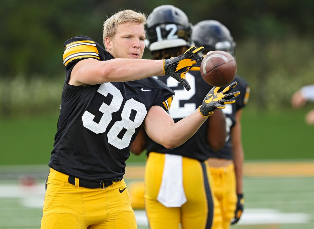 Iowa Hawkeyes' Monte Pottebaum (38) pulls in a pass during Fall Camp Practice No. 10 at the Hansen Football Performance Center in Iowa City on Tuesday, Aug 13, 2019. (Stephen Mally/hawkeyesports.com)