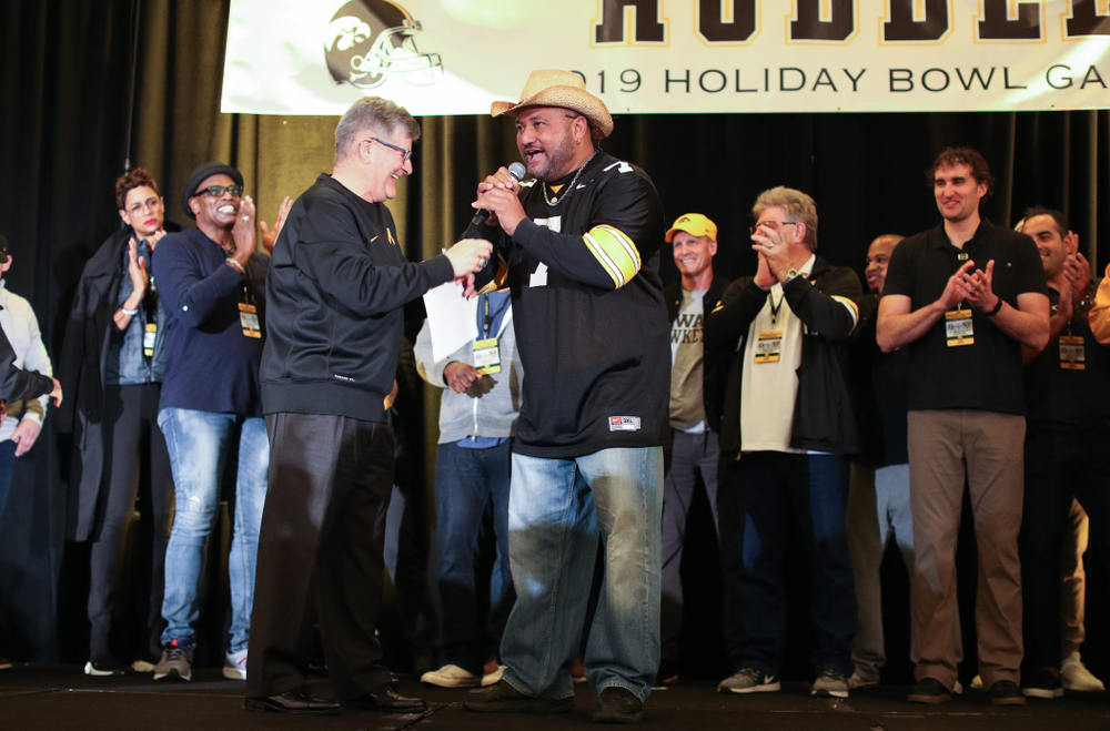 Epenesa Epenesa and other letter winners are introduced during the Holiday Bowl Hawkeye Huddle Thursday, December 26, 2019 at the Hilton in downtown San Diego. (Brian Ray/hawkeyesports.com)