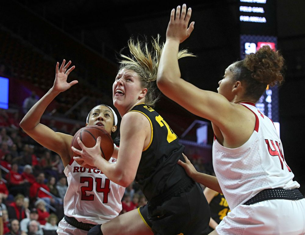 Iowa forward/center Monika Czinano (25) eyes the basket during the first quarter of their game at the Rutgers Athletic Center in Piscataway, N.J. on Sunday, March 1, 2020. (Stephen Mally/hawkeyesports.com)