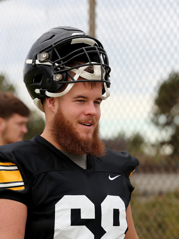 Iowa Hawkeyes offensive lineman Landan Paulsen (68) before practice Sunday, December 22, 2019 at Mesa College in San Diego. (Brian Ray/hawkeyesports.com)