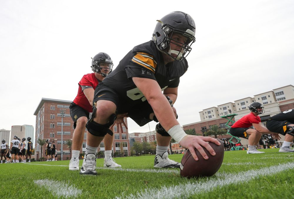 Iowa Hawkeyes offensive lineman Keegan Render (69) and quarterback Nate Stanley (4) during the team's first Outback Bowl Practice in Florida Thursday, December 27, 2018 at Tampa University. (Brian Ray/hawkeyesports.com)
