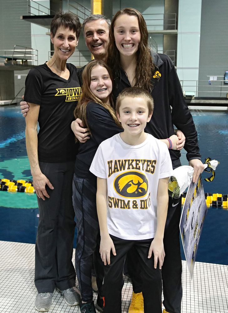 Iowa's Samantha Sauer is honored on senior day before their meet at the Campus Recreation and Wellness Center in Iowa City on Friday, February 7, 2020. (Stephen Mally/hawkeyesports.com)