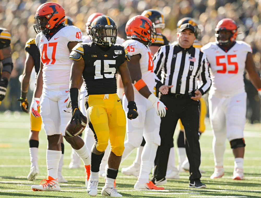 Iowa Hawkeyes running back Tyler Goodson (15) is pumped up after a run during the second quarter of their game at Kinnick Stadium in Iowa City on Saturday, Nov 23, 2019. (Stephen Mally/hawkeyesports.com)