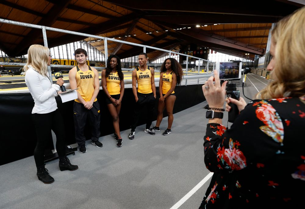 Iowa's Carter Lilly, Jahisha Thomas,  Mar'Yea Harris, and Brittany Brown during the team's media day Wednesday, January 10, 2018 at the indoor track in the Recreation Building. (Brian Ray/hawkeyesports.com)