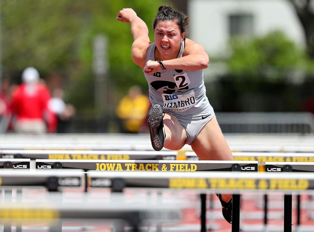 Iowa's Jenny Kimbro runs the 100 meter hurdles during the women's heptathlon event on the first day of the Big Ten Outdoor Track and Field Championships at Francis X. Cretzmeyer Track in Iowa City on Friday, May. 10, 2019. (Stephen Mally/hawkeyesports.com)