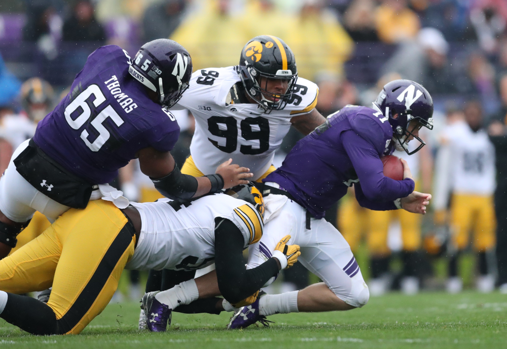 Iowa Hawkeyes defensive end A.J. Epenesa (94) against the Northwestern Wildcats Saturday, September 28, 2019 at Kinnick Stadium. (Max Allen/hawkeyesports.com)