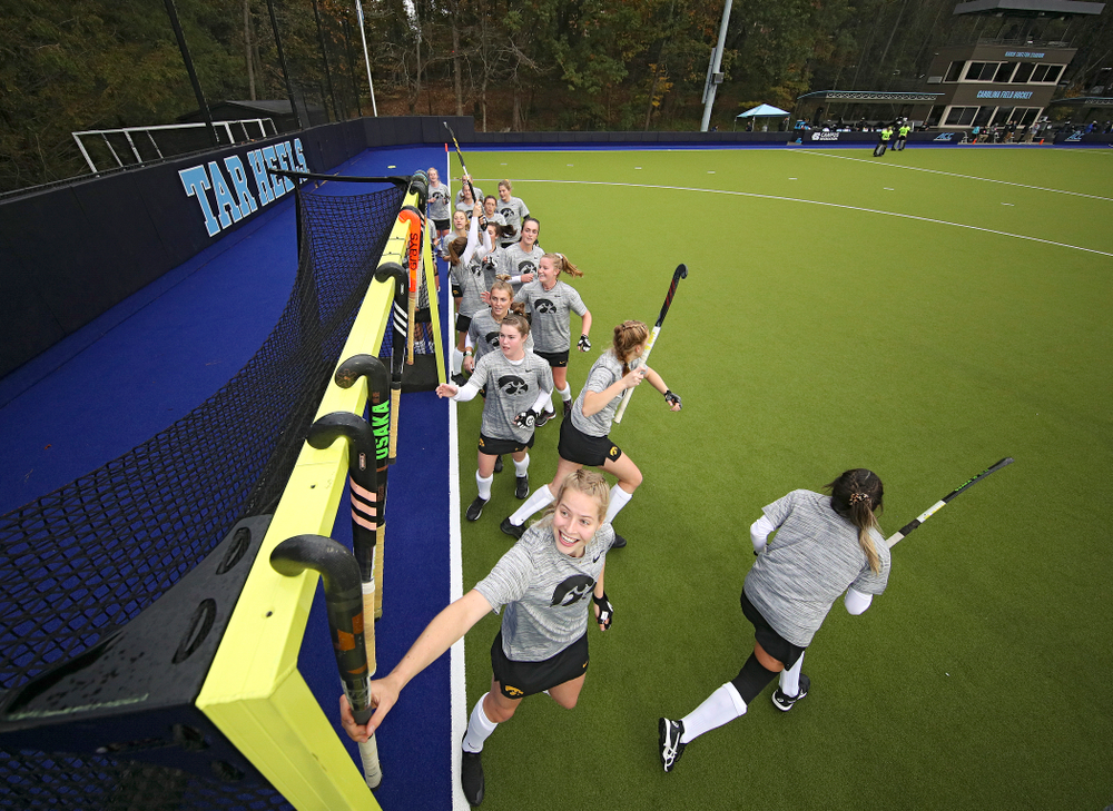 The Hawkeyes warm up before their NCAA Tournament First Round match against Duke at Karen Shelton Stadium in Chapel Hill, N.C. on Friday, Nov 15, 2019. (Stephen Mally/hawkeyesports.com)