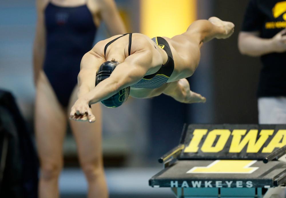 Iowa's Meghan Hackett swims the 50 yard freestyle