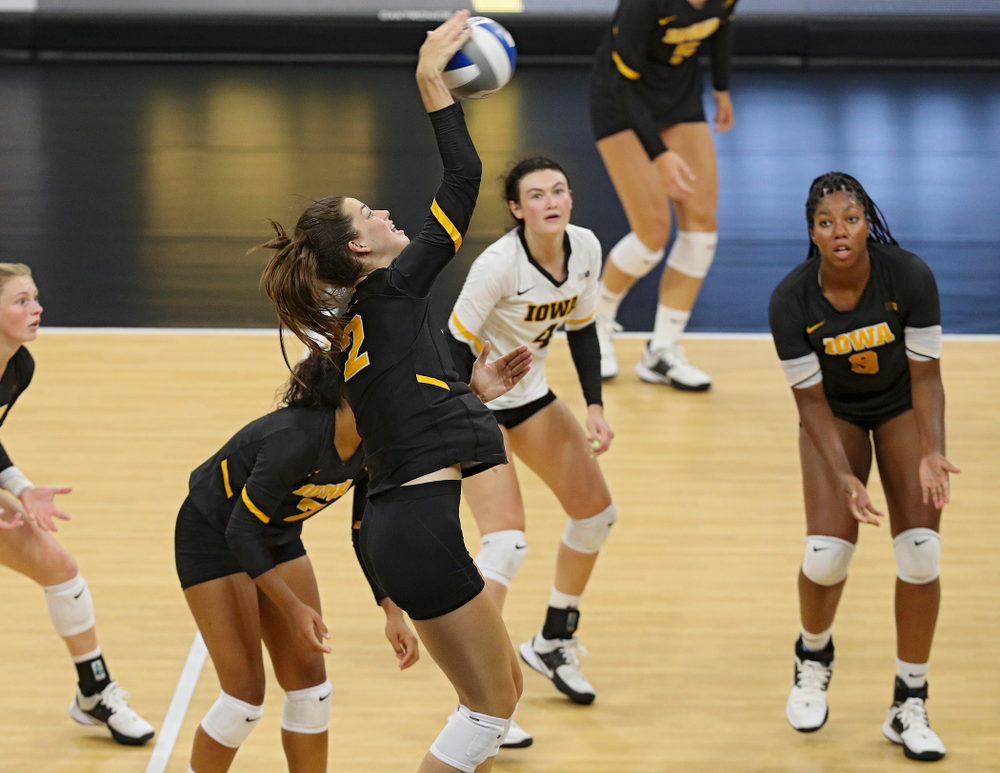 Iowa's Courtney Buzzerio (2) during the second set of the Black and Gold scrimmage at Carver-Hawkeye Arena in Iowa City on Saturday, Aug 24, 2019. (Stephen Mally/hawkeyesports.com)
