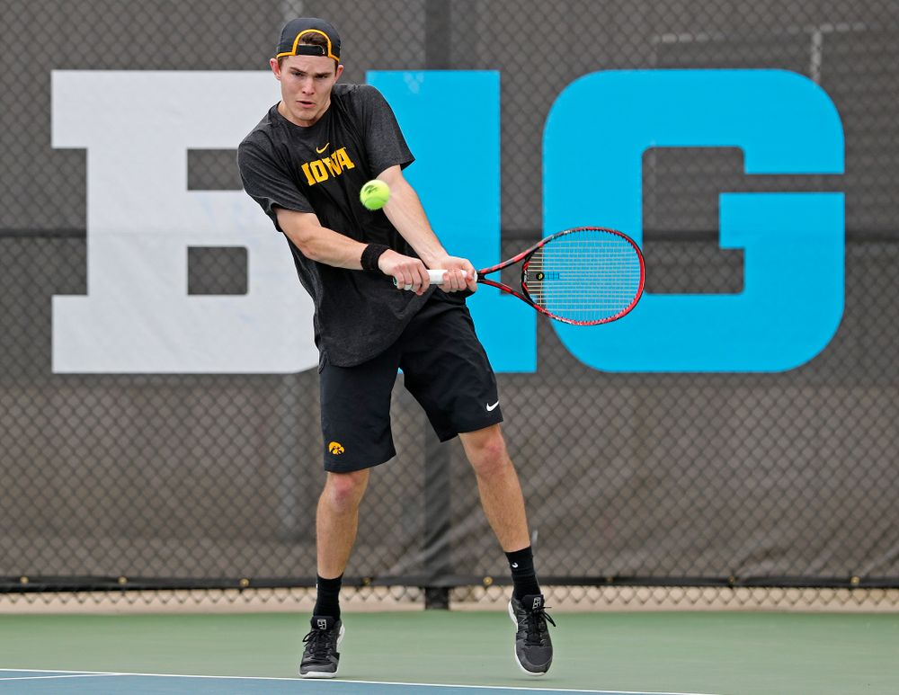 Iowa's Jonas Larsen competes during a match against Ohio State at the Hawkeye Tennis and Recreation Complex in Iowa City on Sunday, Apr. 7, 2019. (Stephen Mally/hawkeyesports.com)