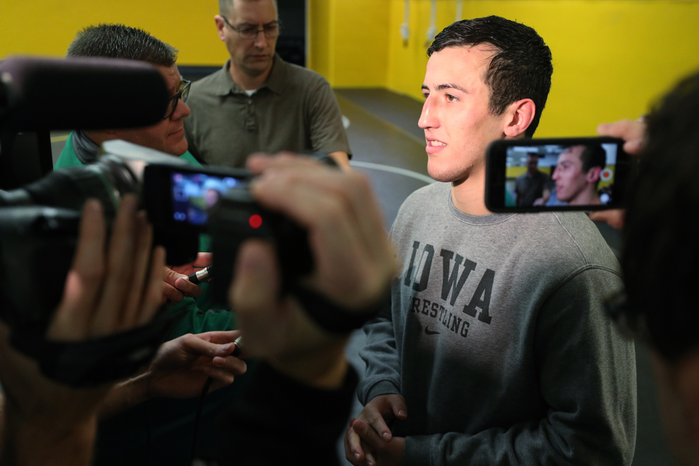 Iowa Hawkeyes All American Michael Kemerer addresses the media during the team's annual media day Monday, November 5, 2018 at Carver-Hawkeye Arena. (Brian Ray/hawkeyesports.com)