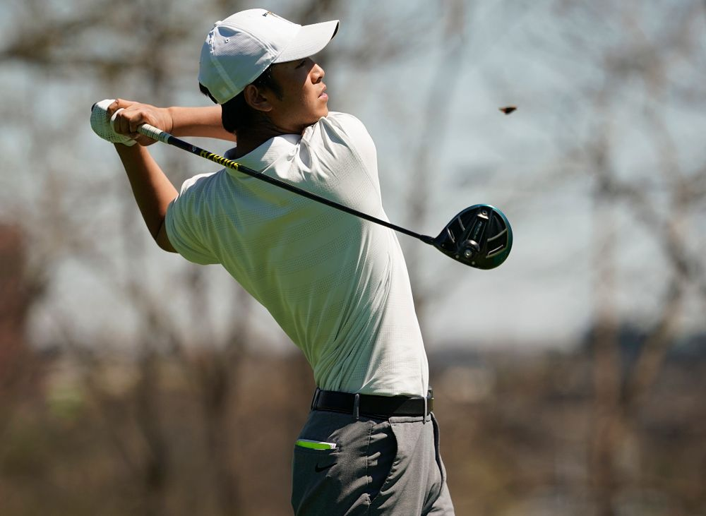 Iowa's Joe Kim tees off during the first round of the Hawkeye Invitational at Finkbine Golf Course in Iowa City on Saturday, Apr. 20, 2019. (Stephen Mally/hawkeyesports.com)