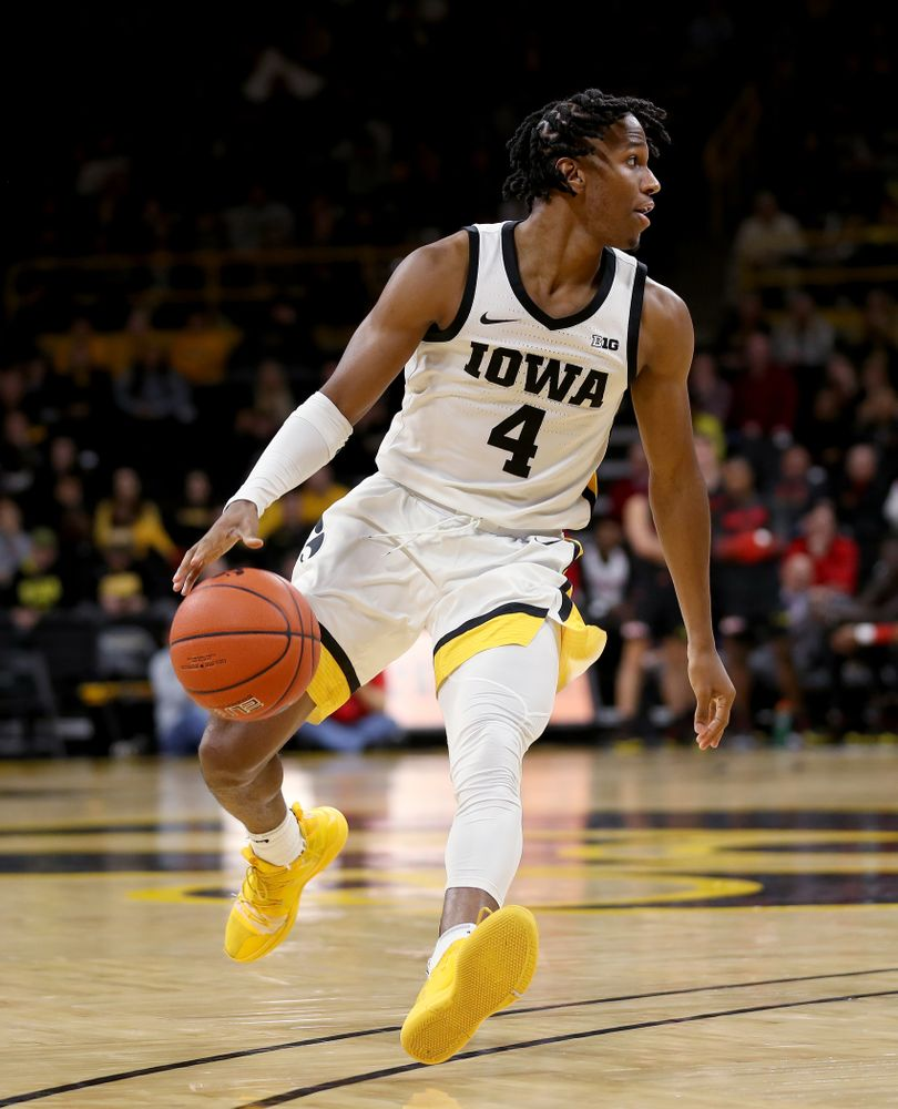 Iowa Hawkeyes guard Bakari Evelyn (4) against the Maryland Terrapins Friday, January 10, 2020 at Carver-Hawkeye Arena. (Brian Ray/hawkeyesports.com)
