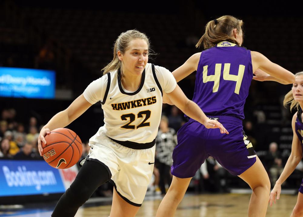 Iowa Hawkeyes guard Kathleen Doyle (22) against North Alabama Thursday, November 14, 2019 at Carver-Hawkeye Arena. (Brian Ray/hawkeyesports.com)