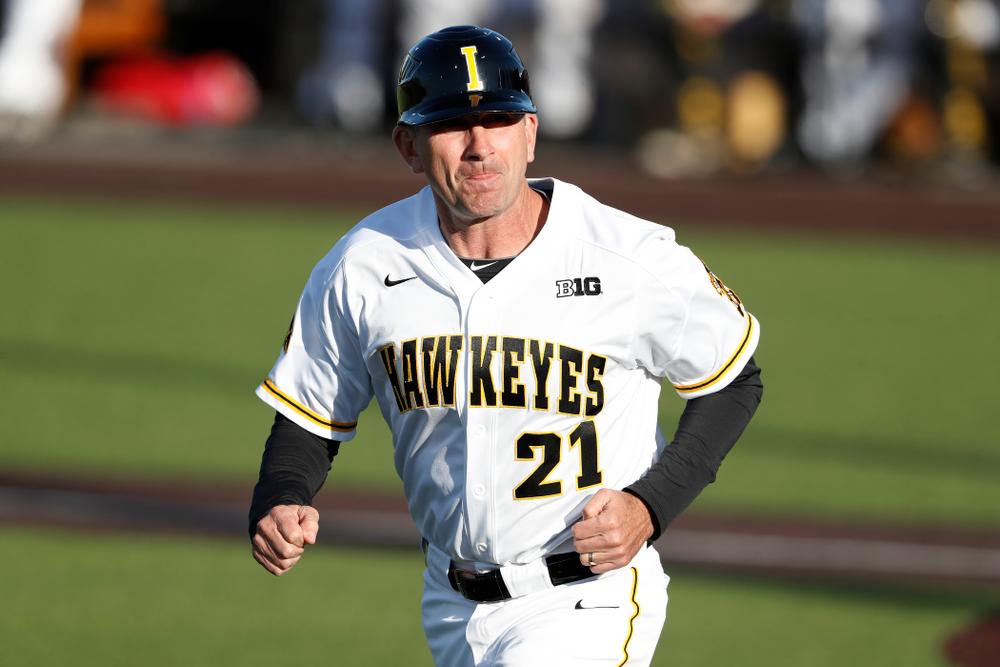 Iowa Hawkeyes head coach Rick Heller against the Michigan Wolverines Friday, April 27, 2018 at Duane Banks Field in Iowa City. (Brian Ray/hawkeyesports.com)