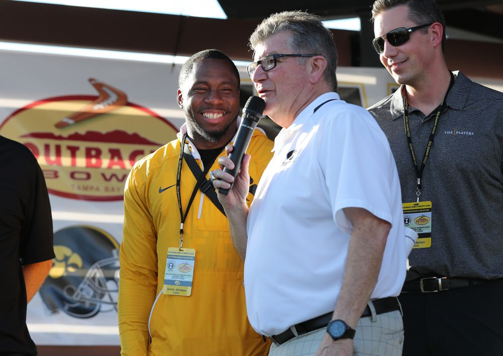 Voice of the Hawkeyes Gary Dolphin speaks with former Hawkeye Football defensive back Jovon Johnson during their Hawkeye Huddle Monday, December 31, 2018 at Sparkman Wharf in Tampa, FL. (Brian Ray/hawkeyesports.com)