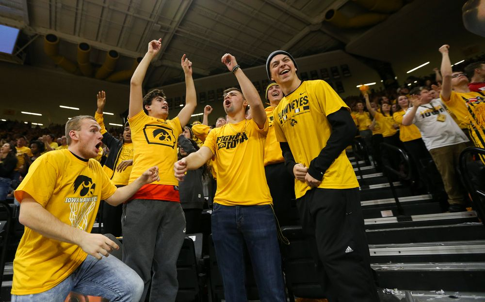 Iowa Hawkeyes students cheer during a game against Wisconsin on November 30, 2018, at Carver-Hawkeye Arena. (Tork Mason/hawkeyesports.com)