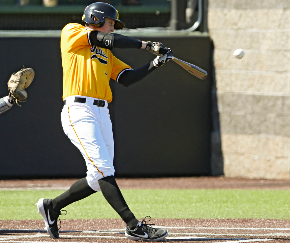 Iowa Hawkeyes left fielder Trenton Wallace (38) bats during the first inning against Illinois at Duane Banks Field in Iowa City on Sunday, Mar. 31, 2019. (Stephen Mally/hawkeyesports.com)
