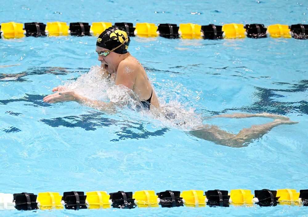 Iowa's Kennedy Gilbertson swims the women's 100 yard individual medley event during their meet at the Campus Recreation and Wellness Center in Iowa City on Friday, February 7, 2020. (Stephen Mally/hawkeyesports.com)