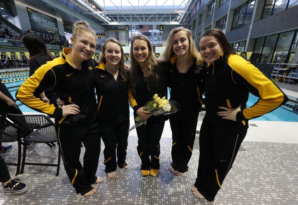 Abbey Schneider, Katie McGovern, Devin Jacobs, Kelly McNamara and Jacintha Thomas during a double dual against Wisconsin and Northwestern Saturday, January 19, 2019 at the Campus Recreation and Wellness Center. (Brian Ray/hawkeyesports.com)