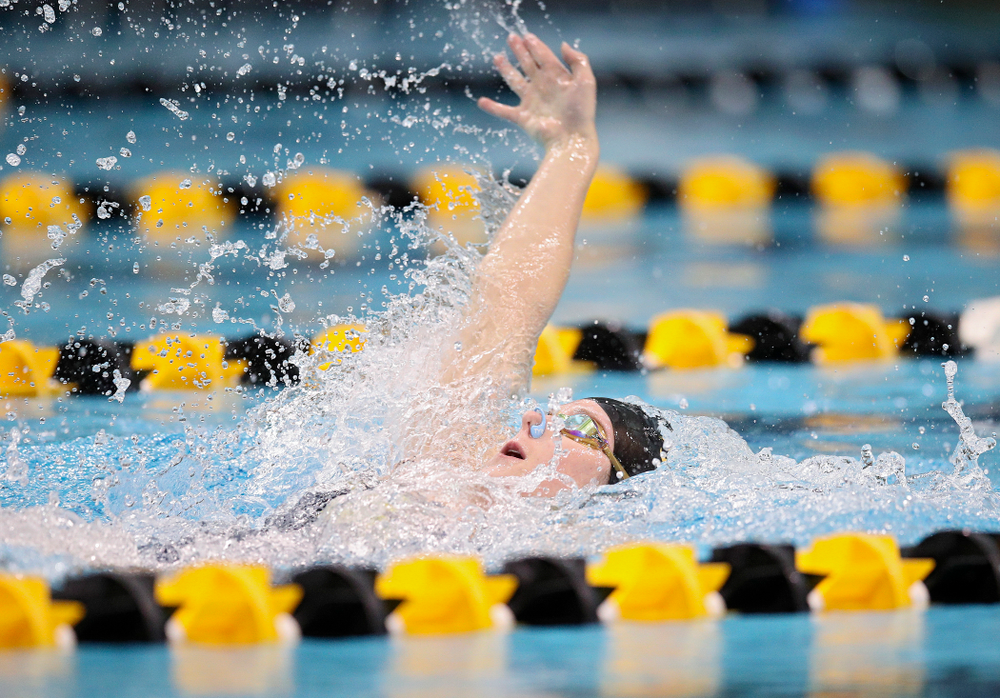 Iowa's Zoe Pawloski swims the backstroke section in the women's 400 yard medley relay event during their meet at the Campus Recreation and Wellness Center in Iowa City on Friday, February 7, 2020. (Stephen Mally/hawkeyesports.com)