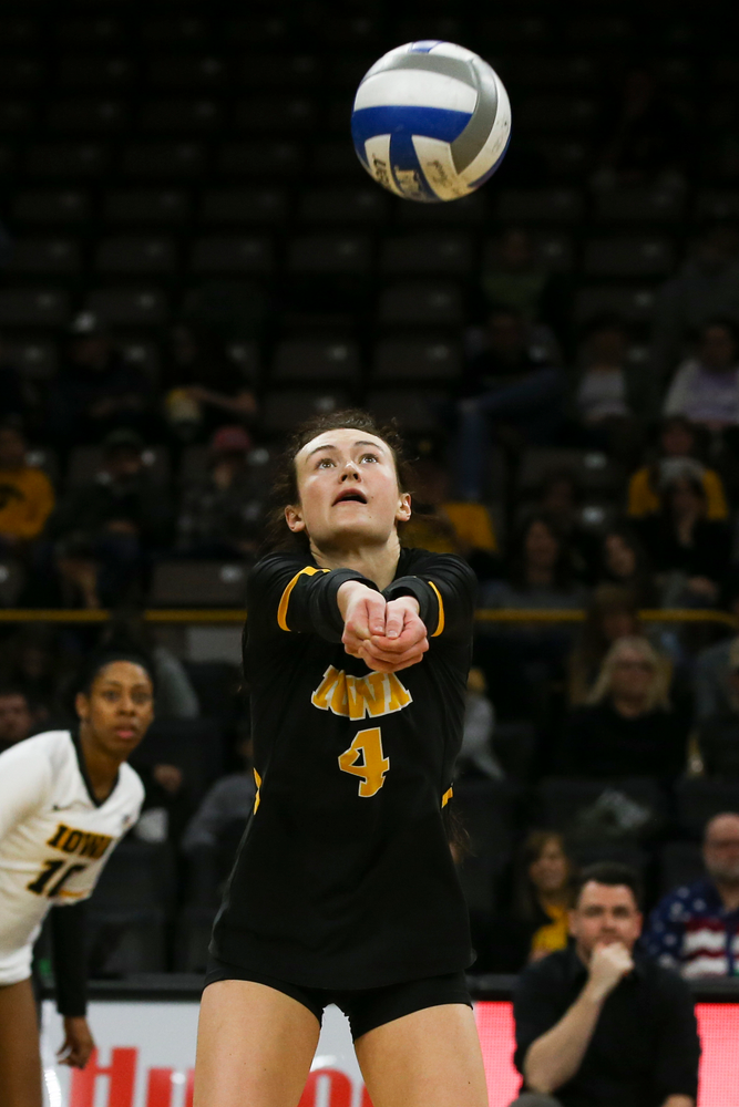Iowa Hawkeyes defensive specialist Halle Johnston (4) during Iowa volleyball vs Maryland on Saturday, November 30, 2019 at Carver-Hawkeye Arena. (Lily Smith/hawkeyesports.com)