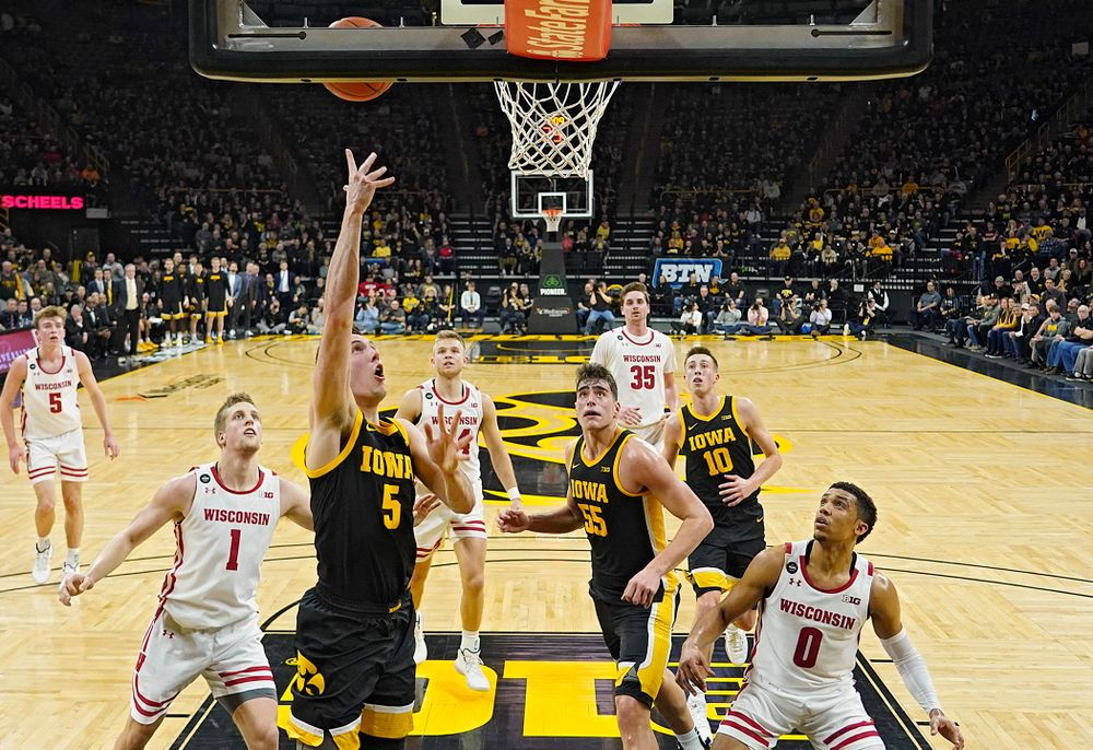 Iowa Hawkeyes guard CJ Fredrick (5) makes a basket during the first half of their game at Carver-Hawkeye Arena in Iowa City on Monday, January 27, 2020. (Stephen Mally/hawkeyesports.com)