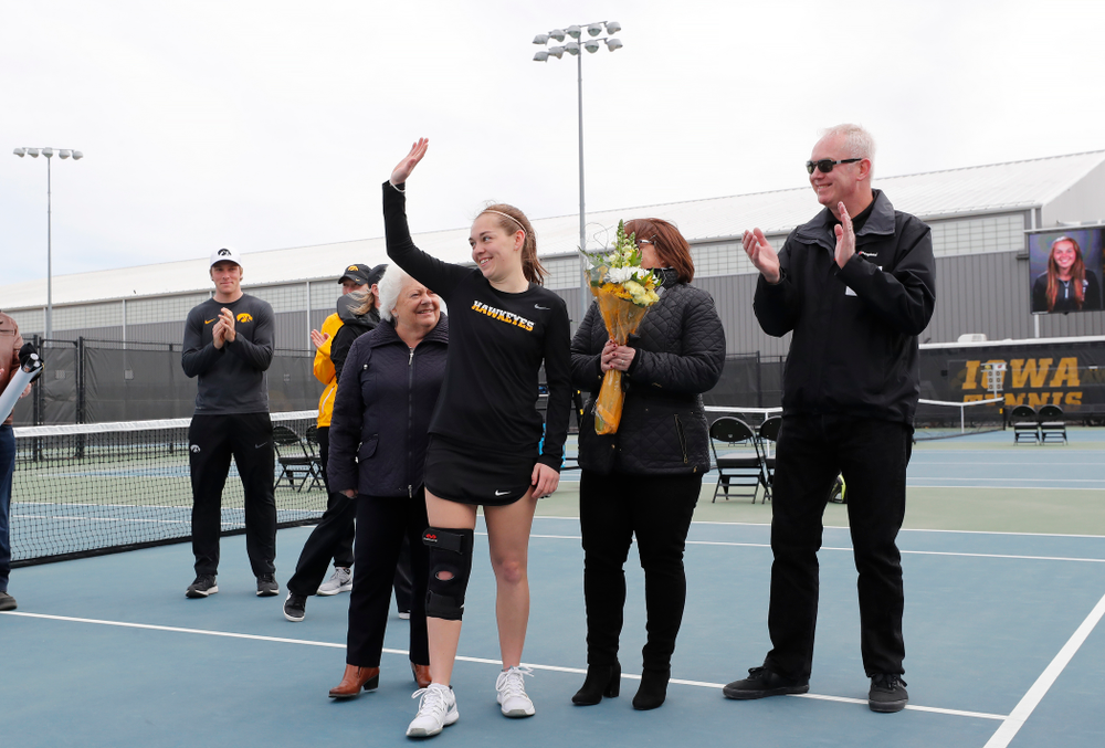 Iowa's Zoe Douglas during Senior Day activities before their match against the Wisconsin Badgers Sunday, April 22, 2018 at the Hawkeye Tennis and Recreation Center. (Brian Ray/hawkeyesports.com)